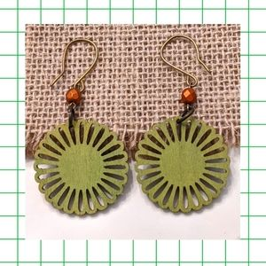Wooden Olive Green Dangle Earrings